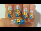 Light Blue and Orange Goldfish Design with Glitter and Bubbles Nail Art Tutorial