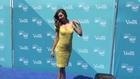 Super Sexy Model Miranda Kerr In Yellow Tight Fitting Dress In Time Square